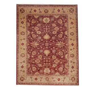 Herat Oriental Afghan Hand-knotted Oushak Red/ Beige Wool Rug (6'9 x 8'8)