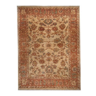 Herat Oriental Afghan Hand-knotted Oushak Ivory/ Rust Wool Rug (6'5 x 8'7)