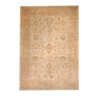 Herat Oriental Afghan Hand-knotted Oushak Ivory/ Beige Wool Rug (5'10 x 8'4)