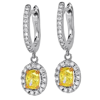 18k Two-tone Gold 1 3/4ct White and Fancy Yellow Diamond Earrings (H-I, SI1-SI2)