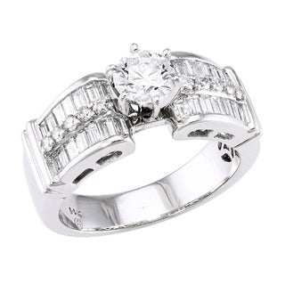 Beverly Hills Charm 14k White Gold 1 2/3ct TDW Diamond Engagement Ring (H-I, SI2-I1)