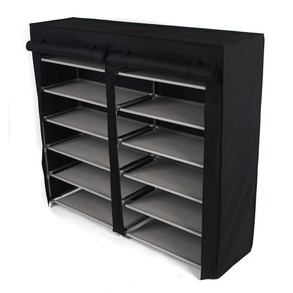 Black Double 6-tier Shoe Rack