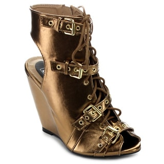 City Snappers Women's 'Rashida 08' Bronze Peep-toe Lace-up Wedges