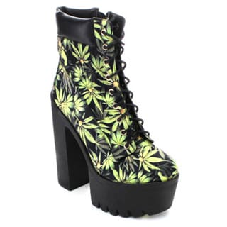 City Snappers Women's Leaf Print Lace-up Platform Heels