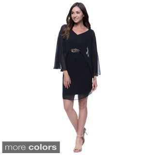 Connected Apparel Embellished Sheer Overlay Dress