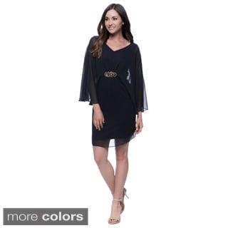 Connected Apparel Embellished Sheer Overlay Dress