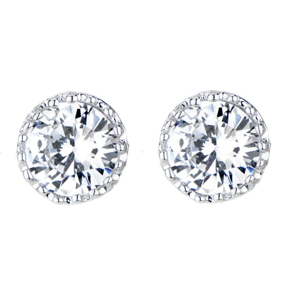 Silvertone Crown Setting Cubic Zirconia Stud Earrings