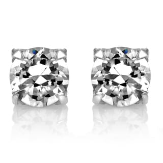 Silvertone Round-cut Cubic Zirconia Non Pierced Magnetic Earrings
