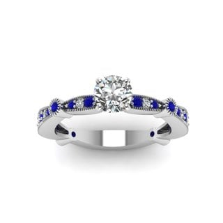 14k White Gold 1/2ct TDW Round-cut Diamond and Sapphire Engagement Ring (F-G, I1-I2)