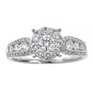 18K White Gold RIng with Pave Set SI Quality Diamonds
