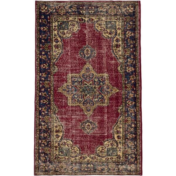 Ecarpetgallery Anatolian Revival Dark Red Wool Medallion Corners Rectangular Rug (4'10 x 8')