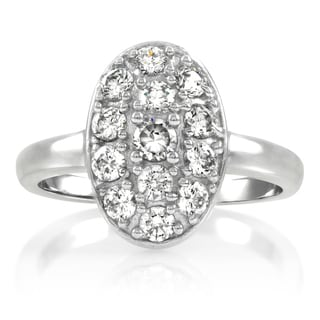 Sterling Silver Oval Cubic Zirconia Pave Engagement Ring