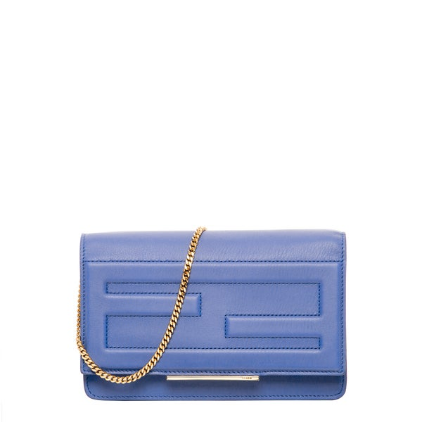 Fendi Light Blue Leather Tube Clutch