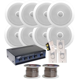 Pyle KTHSP350 250-watt Speakers System with 8 6.5-inch In-ceiling Speakers/ Volume Controls/ Speaker Selector/ Speaker Wire