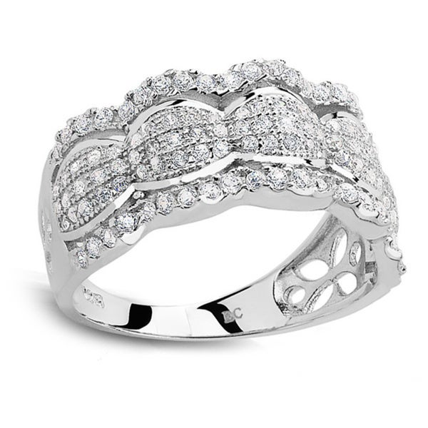 Sterling Silver Micropave Cubic Zirconia Scalloped Ring