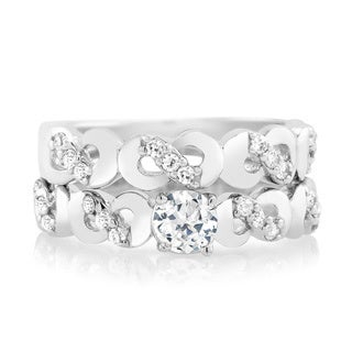 Sterling Silver Cubic Zirconia TwistedEngagement Ring and Band Set