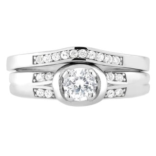 Sterling Silver Cubic Zirconia Heart Engagement Ring and Band Set