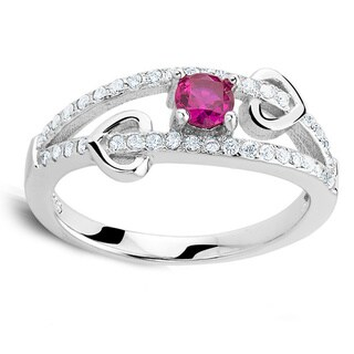 Sterling Silver Red Quartz Cubic Zirconia Engagement Ring and Band Set
