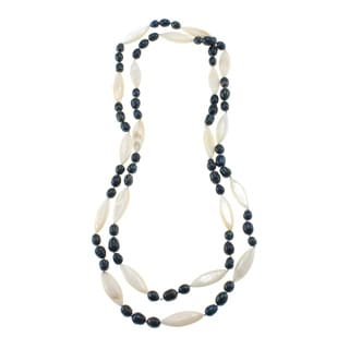 Blue Freshwater Pearl and White Shell Endless Necklace (7-8 mm)