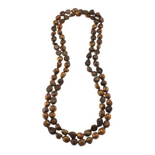 Chocolate Freshwater Pearl Knotted Endless Necklace (10-11 mm)
