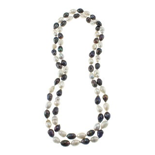 Black and White Freshwater Pearl Knotted Endless Necklace (10-11 mm)