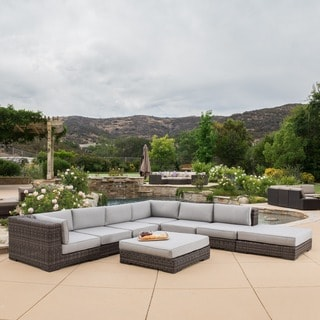 Christopher Knight Home Glenoaks 8-piece Outdoor Wicker Sectional with Sunbrella Cushions