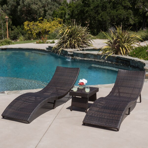 Christopher Knight Home Acapulco Outdoor 3-piece Wicker Adjustable Chaise Lounge Set