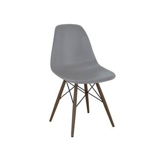 Dark Grey Mid Century Side Chair with Walnut Wood Base (Set of 5)