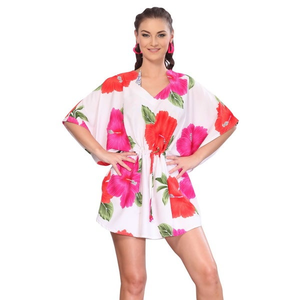 La Leela Red Hibiscus Flower Printed Drawstring Swim Cover-up Tunic