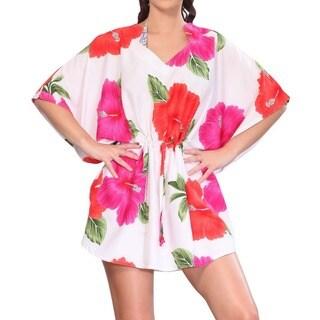 La Leela Red Hibiscus Flower Printed Drawstring Swim Cover-up Tunic