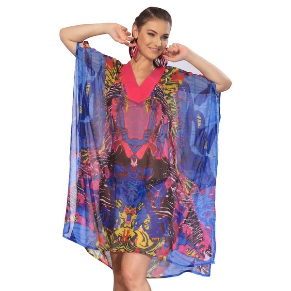 La Leela Blue Ghost Printed Sheer Chiffon Swim Cover-up Tunic