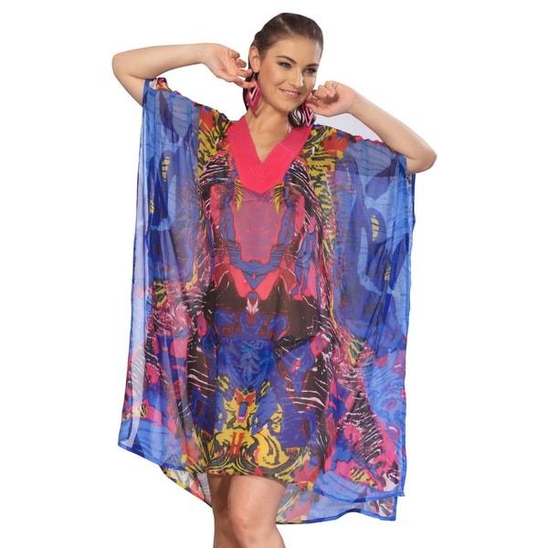 La Leela Blue Ghost Printed Sheer Chiffon Swim Cover-up Tunic