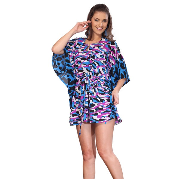 La Leela Women's Blue Animal Printed Swim Cover-up Tunic