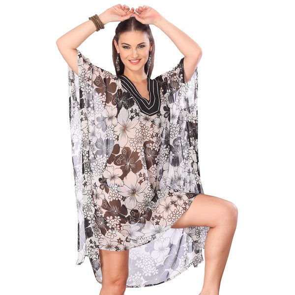 La Leela Allover Floral Printed White Swim Cover-up Tunic