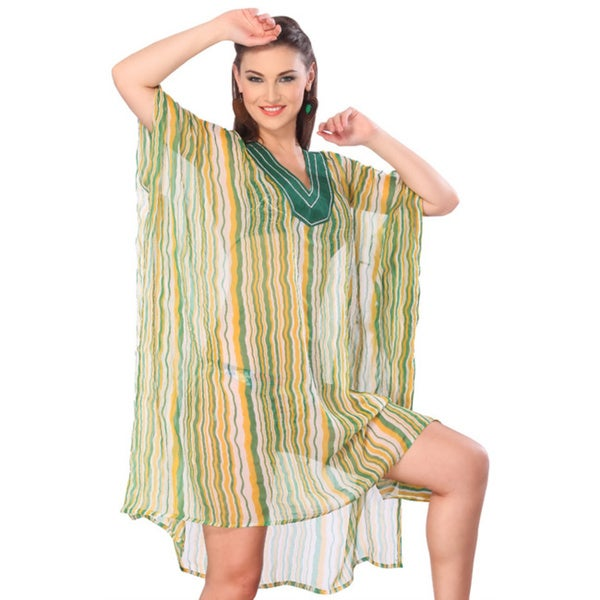 La Leela Multicolored Allover Line Printed Green Swim Cover-up