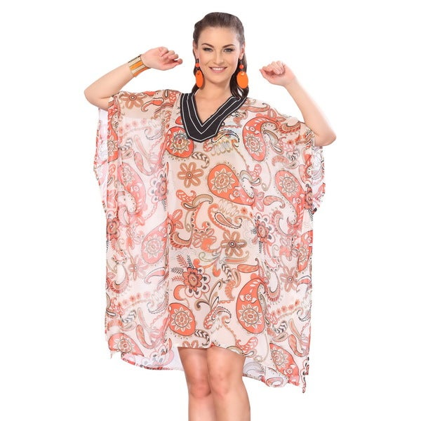 La Leela Sheer Chiffon Allover Orange Paisley Printed Swim Cover-up Tunic