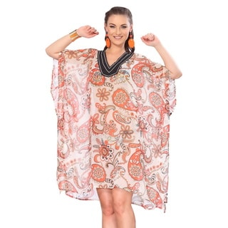 La Leela Sheer Chiffon Allover Orange Paisley Printed Swim Cover-up Tunic