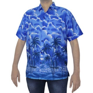 La Leela Men's Royal Blue Palm Tree Printed Swim Hawaiian Shirt Beach Camp
