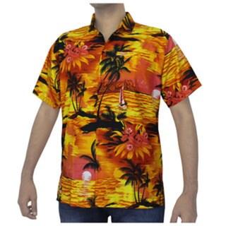 La Leela Men's Palm Tree / Sunset Printed Orange Beach Hawaiian Shirt Swim Camp
