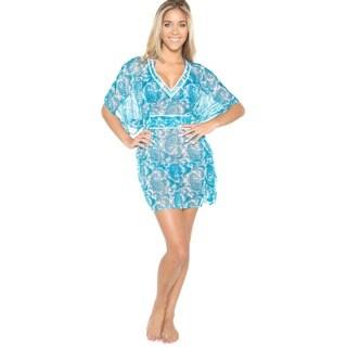 La Leela Sheer Chiffon V-Neck Allover Paisley Printed Blue Swim Cover-up