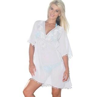 La Leela Sheer Chiffon White Paisley Sequin V-Neck Swim Cover-up Tunic