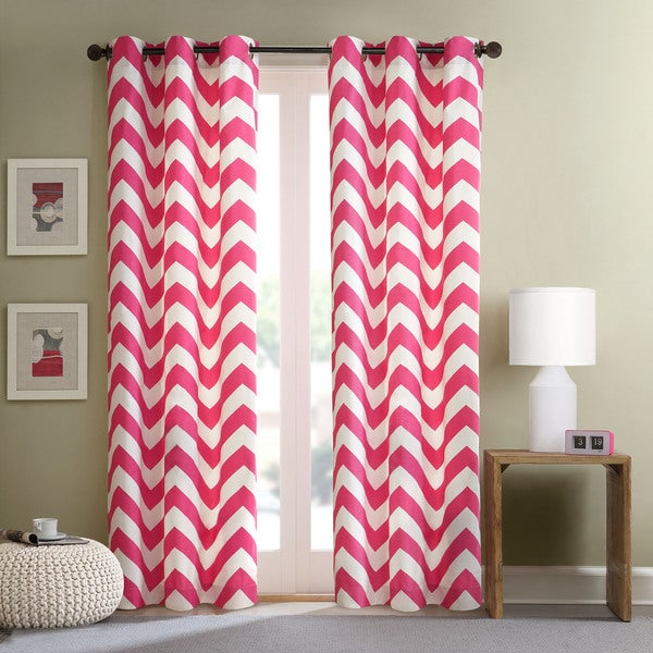 Intelligent Design Virgo Pink Chevron Window Curtain Panel Pair 15290291
