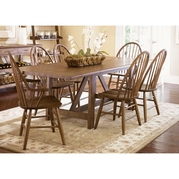 Liberty Weathered Oak Trestle Table