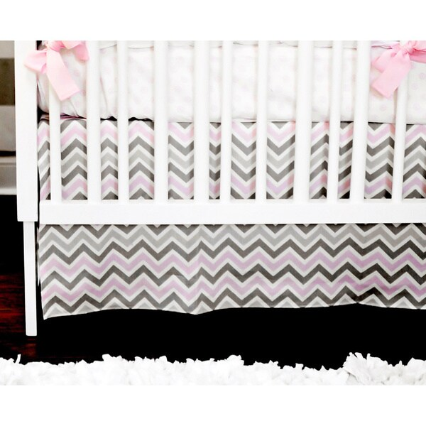 New Arrivals 2-piece Peace Love Pink Crib Bedding Set