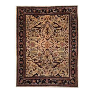Herat Oriental Afghan Hand-knotted Oushak Ivory/ Black Wool Rug (6'8 x 8'7)