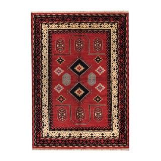 Herat Oriental Indo Hand-knotted Tribal Kazak Rust/ Ivory Wool Rug (5'8 x 8')