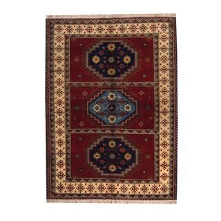 Herat Oriental Indo Hand-knotted Tribal Kazak Red/ Navy Wool Rug (5'8 x 7'9)