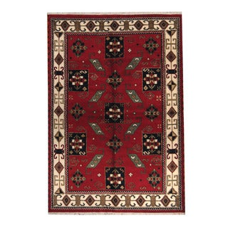 Herat Oriental Indo Hand-knotted Tribal Kazak Rust/ Navy Wool Rug (6'2 x 9)