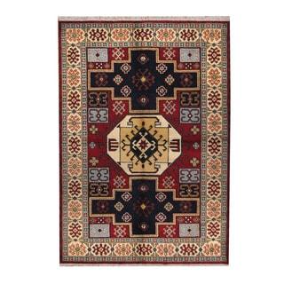 Herat Oriental Indo Hand-knotted Tribal Kazak Rust/ Navy Wool Rug (6'3 x 8'10)