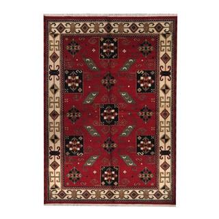 Herat Oriental Indo Hand-knotted Tribal Kazak Red/ Navy Wool Rug (6'3 x 8'9)